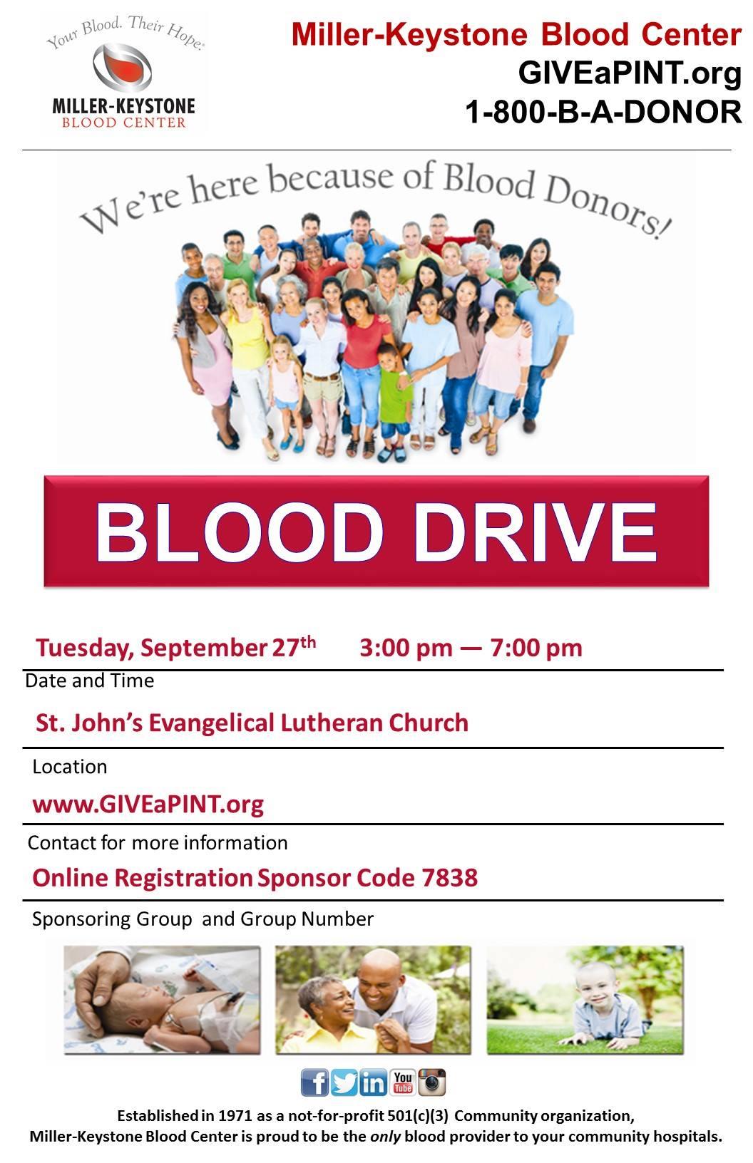 Miller-Keystone Blood Drive Sep 27 3-7pm