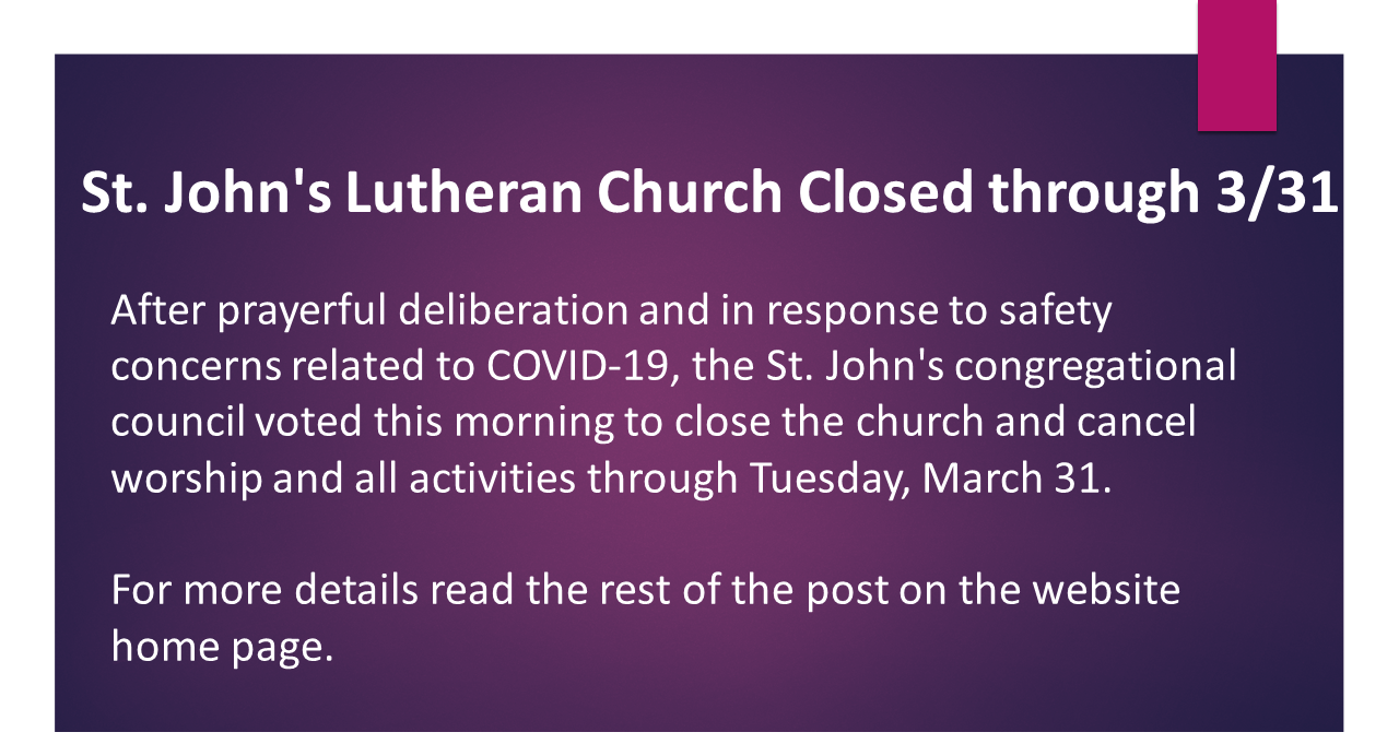 St Johns Special Announcements March 2020